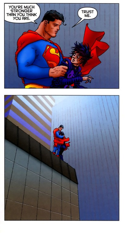 zoutman:  I love this scene in All Star Superman. I cropped it for two reasons, 1) a friend needed to be reminded she's strong as the Iron Fist, and 2) this is Superman hugging humanity.