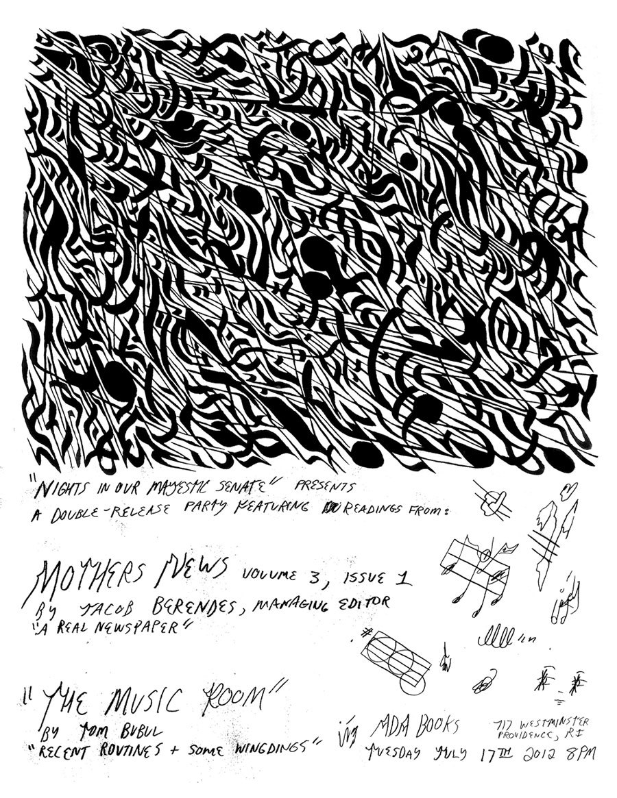 "poster for the release party for ""the music room"" / july 2012 issue of mothers news ""the music room"" $3 usa subscribe to mothers news year 3 $23, 12 issues"