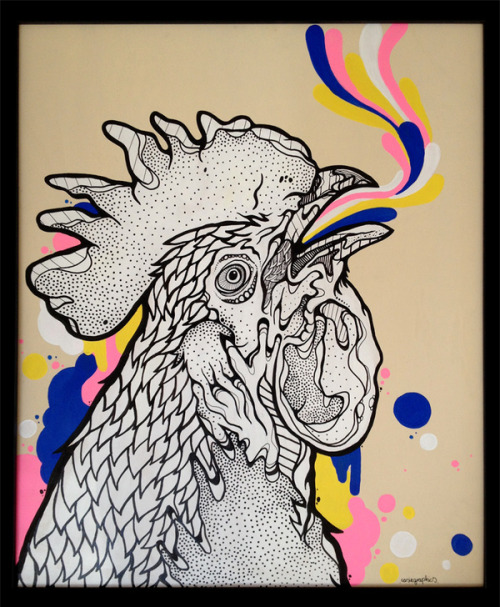 "fuckyeahpsychedelics:  ""Cockerel"" by Casiegraphics"