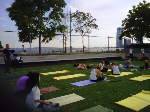 Tonight's yoga classroom… I guess that's Lady Liberty's version of mountain pose.