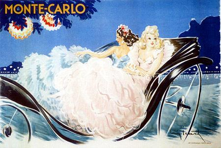 "Vintage Poster: ""Monte-Carlo""Artist: Louis Icart Artist: Louis Icart Circa: 1920's  Origin: France Buy It Here: http://www.la-belle-epoque.com/vintage-poster/Travel/1335/-Monte-Carlo- From one 1920s high-class hang out to another, today we are in Monte Carlo. Monte Carlo is in Monaco and famous for its huge casino, the grande prix and it's lavish parties. This poster gave the traveller of the 1920s a peek at the luxury life style Monte Carlo had to offer."
