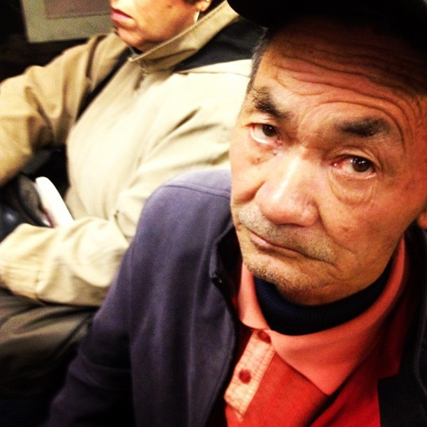Them eyebrows on the M. #muni #sf #sanfrancisco #eyebrows #oldman #hat (Taken with Instagram)
