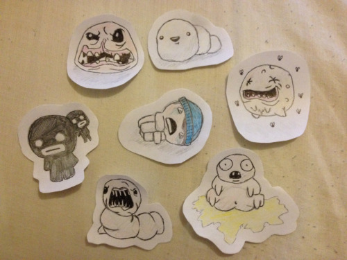 kezzaaj:  Did a few doodles, I'm Isaac because of my addiction to the game, then just a few of the bosses.