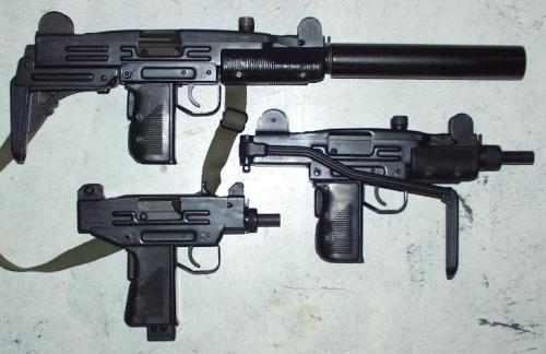 Triple threat… A nice comparison view of the 3 UZI models; full-size, Mini and Micro. The Micro does have a side folding stock like the Mini but it's shorter to match the receiver. Contrary to what Hollywood and videogames portray, the full-size UZI is a lot heavier than it looks. You can hold and shoot it with one hand but after a while it's just a pain in the ass.