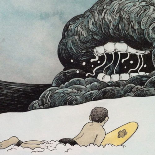 Travis Millard's surfing illustration.