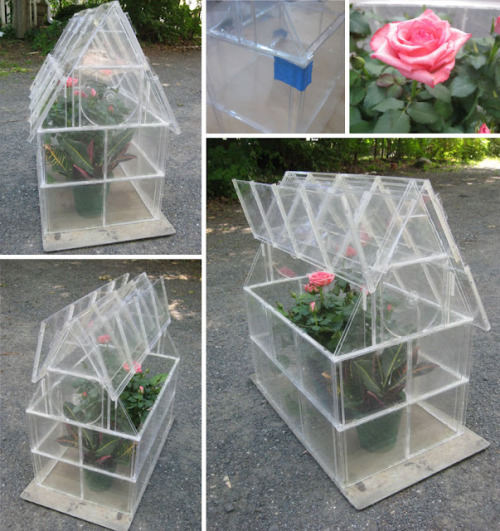 "truebluemeandyou:  DIY Recycled CD Case Greenhouse Tutorial by Meg at  Mega Crafty from So You Think You're Crafty here. *One image download. This project takes 40+ CD cases and the author writes:  ""I'm going to tell you up front- this tutorial is pretty long. But don't get scared off… the greenhouse really isn't difficult to make. …The toughest part about the whole project is cutting the cases into angles- and even that's not really hard to do, it just takes some patience. The rest of the project is just gluing!"""