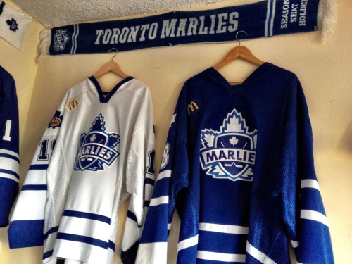 Two game worn Toronto Marlies jerseys, 2006-07. Jeremy Williams (with his name spelled wrong!) and Carlo Colaiacovo.