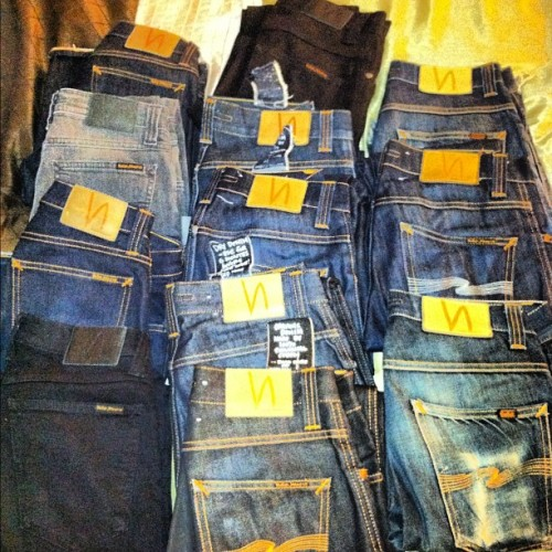 *Follower Submitted* The people at @nudiejeans would be proud of this collection by @rubin2 .  #Nudie #Nudies #NudieJeans #Denim #Fashion #DMV   (Taken with Instagram)