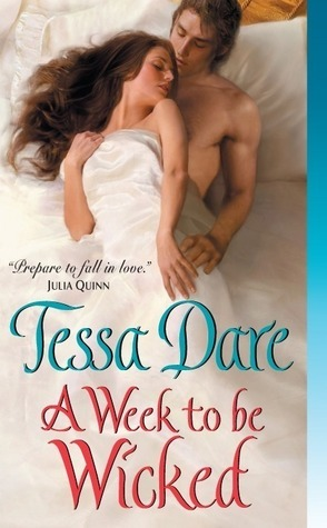 "A Week to be Wicked, by Tessa Dare YOU WERE RIGHT, I WAS WRONG. This was a lovely book A wonderful book. Funny and charming and a total blast to read. All I had to do was get past the first quarter of the book. You see, it starts off being like EVERY OTHER ROMANCE NOVEL EVER, in which Minerva (Greek name, take a drink!), the bookish bespectacled spinster (another drink!) comes up with a preposterous plan to pretend to elope with the rakish and womanizing (take a sip) Lord Payne (PAYNE? finish your drink) so that her sister won't be ruined and also so she can attend a … geology conference. Yeah, I know. Like I said, I really had a hard time getting through the first quarter of the book, where Minerva was all bookish and practical and having convenient little asides with Lord Payne (UGH THE NAME), but once they hit the road it became an excellent romance novel buddy comedy adventure story. The thing that made this book special is, to me, the very natural and sly humor in the interchanges between Min and Lord Pay—let's just call him Colin. Minerva is an academic spinster, but she manages to loosen up enough to trade barbs with Colin, and it's never in a ""oh look how clever I am"" kind of way. The dialogue between them is organically funny and sweet. Long journeys up to Scotland are pretty common in romance novels - you have to get the hero and heroine together in a confined room SOMEHOW, and it's easier to be bad in the midst of strangers - and I personally think it's difficult to pull off this plot device without the story becoming overly episodic or repetitive. To be fair, it is true that Minerva and Colin find themselves running in and out of various wild scenarios, characters we meet on one leg of the journey show up later to be a punchline, etc. With a weaker writer, it wouldn't work, but it was seamlessly comedic and entertaining to me. Min and Colin's relationship develops naturally (I keep going back to planty adjectives, sorry) and believably. A Week to Be Wicked was an unexpected treat for me, and totally deserving of the lavish praise that has been heaped upon it. Strongly recommended! Note: it's been hard for me to consistently review the books I've been reading lately, but I have finally caught up with every other book enthusiast in the world and joined Goodreads. I'll keep it updated with everything I'm reading currently. I'll keep reviewing books here, of course, but reviews might be a little slower."
