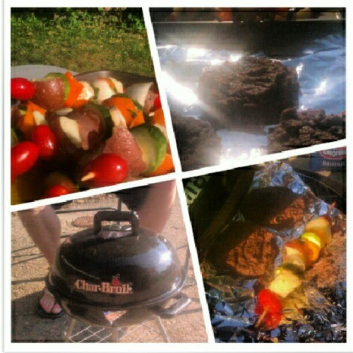 Quinoa-black bean burgers & veggie kabobs for dinner! Grilling out with the roomie…  (Taken with Instagram)