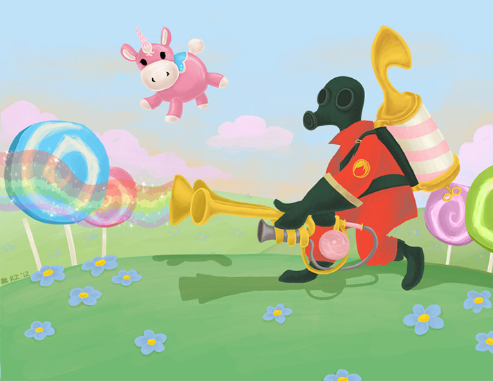 "eatsleepdraw:  ""Pyroland"" 2012My Team Fortress 2 inspired piece!  ladywren @ tumblr 