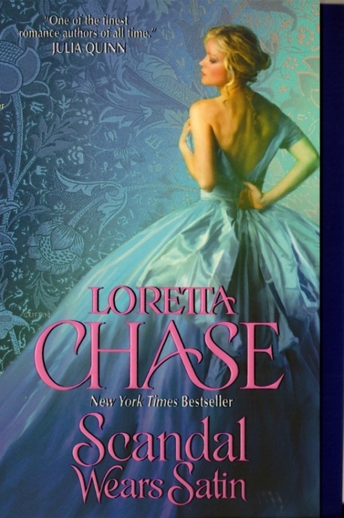 "Scandal Wears Satin, by Loretta Chase A NEW CHASE! A NEW CHASE! SING PRAISE TO THE HEAVENS, THERE IS A NEW CHASE! Not only that, it is a continuation of her fabulously fabulous dressmaker series, which began last year with Silk is for Seduction. Are you ready for dress porn? Are you ready to read about sleeve puffs and chemises and luxurious materials and colors and the mechanics of dressmaking? ME TOO. Well, okay, one thing I should tell you is that since this book doesn't star Marcelline, the design queen of London's most faaaabulous dress shop, Maison Noirot, we're not going to get as much dress porn. Yeah, I'm sad too. And there's a cute kid, but he's not as great as Marcelline's daughter, and not as prominently featured. So there's all of that! But, if we're going to talk about old Chases, it must be said that Harry, the Earl of Longmore, definitely resembles everybody's all-time favorite brawler, RUPERT CARSINGTON. I know, I was delighted. However, in the midst of being delighted, I was a bit less-than-delighted to realize that much of the plot and many of the characters seemed a bit - and it pains me to say this about La Chase - recycled. I'm sorry. I have to be honest. Sophy Noirot is the scheming sister of the Noirot trio, and if you read and enjoyed Last Night's Scandal, you might find echoes of Olivia Wingate-Carsington. Sophy and Olivia are distantly related, as a matter of fact, but that's not quite a great reason to have so many similarities between the two. Like Olivia, Sophy is a skilled deceiver and an unparalleled trickster, and she's always Up to No Good. So of course Sophy Noirot and the rakish Earl of Longmore (I have to admit the schemer-brawler pairing was a new one for me) have to get together to save one thing or another and help the Earl's sister, the recently-spurned Clara, ditch her grody fiancee and save the shop and whatever else needs saving in this particular novel. To repeat a tired simile (and repetition seems to be the theme of this review), Loretta Chase is a lot like pizza - even when she's not great, she's still pretty damn good. This is not her best work. It's not as good as Silk is for Seduction. But it's fun! There's enough wonderful dress descriptions to keep you from side-eyeing too hard. It's not exactly a sturdy, filling romance, but it's a perfect beach read (or at least it's what a hastily-researched magazine blurb would call ""a perfect beach read""). Worth it, but it's because Loretta Chase always is."