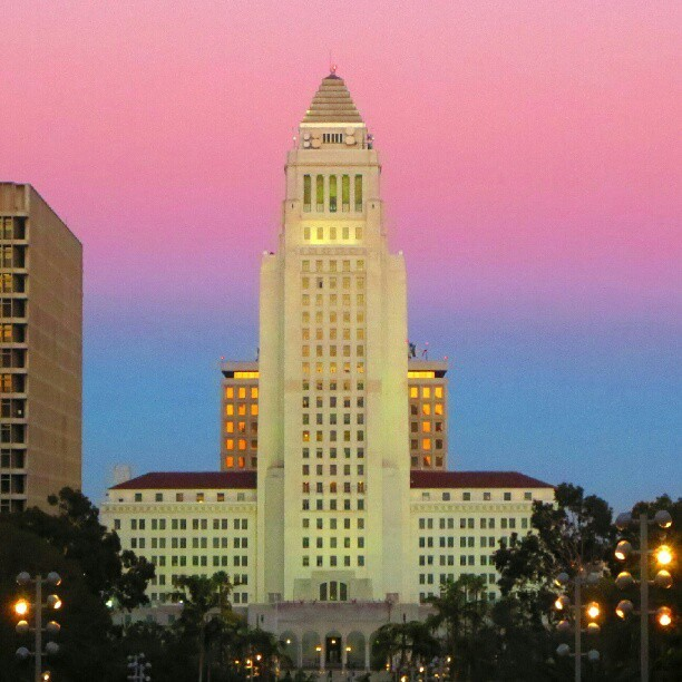 #Sunset #Downtown #LosAngeles #CityHall #LA #ink361 from #Disney #ConcertHall (Taken with Instagram)