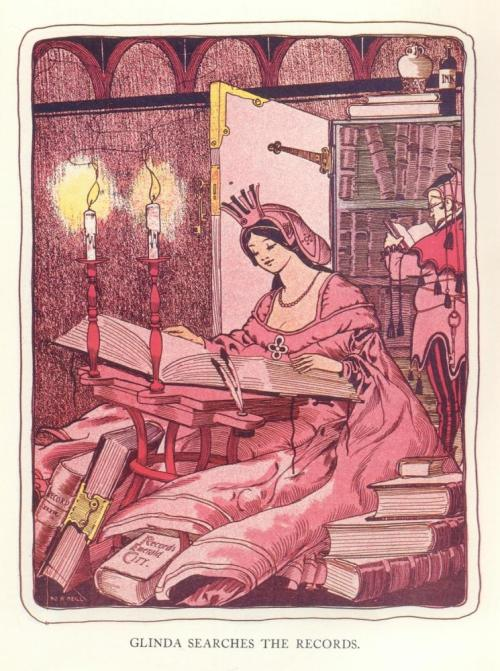 "fairytalemood:  ""Glinda searches the records"" from The Marvelous Land of Oz illustrated by John R. Neill"