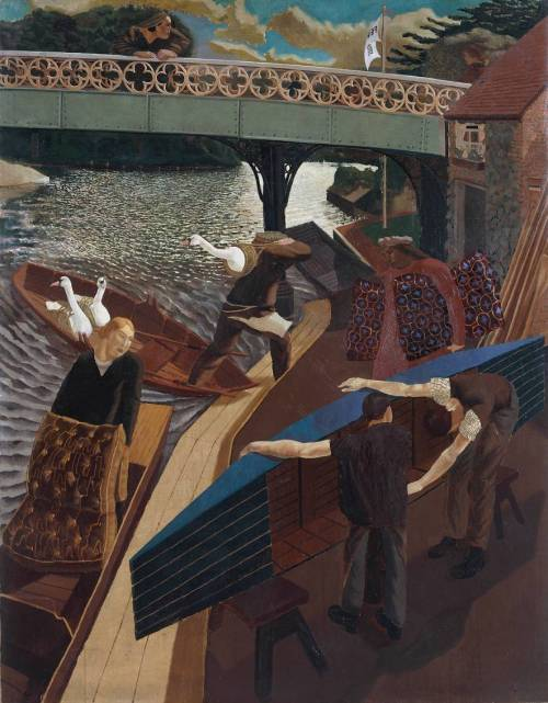 thorsteinulf:  Stanley Spencer - Swan Upping at Cookham (1915-19)