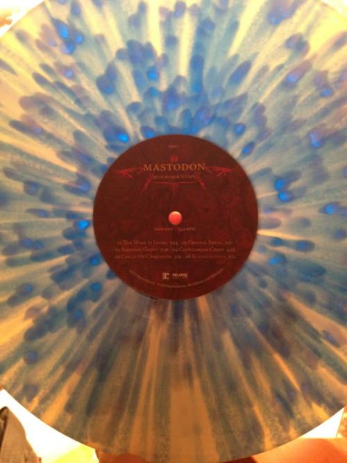 "Now I onto Mastodon's ""Blood Mountain"" on white vinyl with blue streaks!!"