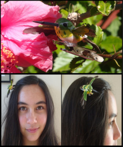 Hummingbird Hair Clip I found this humming bird in floral supplies, and I hotglued it to a clip.