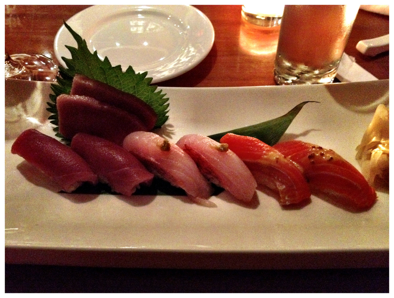 Toro, bluefin, sockeye salmon, kinme dai (wild golden eye snapper), dinner tonight.