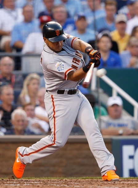 findtheswagger:   KANSAS CITY, MO - JULY 10: National League All-Star Melky Cabrera #53 of the San Francisco Giants hits a two-run home run in the fourth inning during the 83rd MLB All-Star Game at Kauffman Stadium on July 10, 2012 in Kansas City, Missouri. (Photo by Jamie Squire/Getty Images)  Those shoes though.