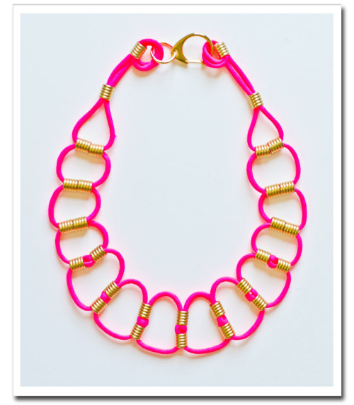 DIY Looped Cord and Bead Necklace Tutorial from court & hudson here. When I post a tutorial I'm always thinking about how to make it my own - like changing the size of the loops, using silver beads and a different color of cord.