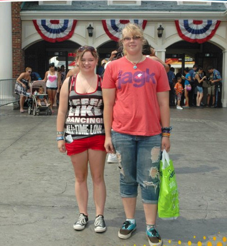 "this is me and my best friend Leah at our local Six Flags. I'm 5'10"" and she is 5'4"",we've been best friends since preschool and all ways had a height difference. my mom once call us David and Goliath. and i'm locally known as Squatch"