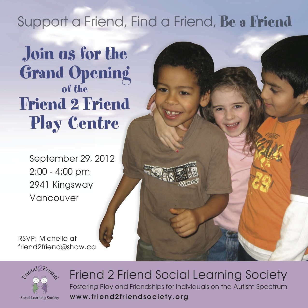Please join us on September 29th just RSVP friend2friend@shaw.ca
