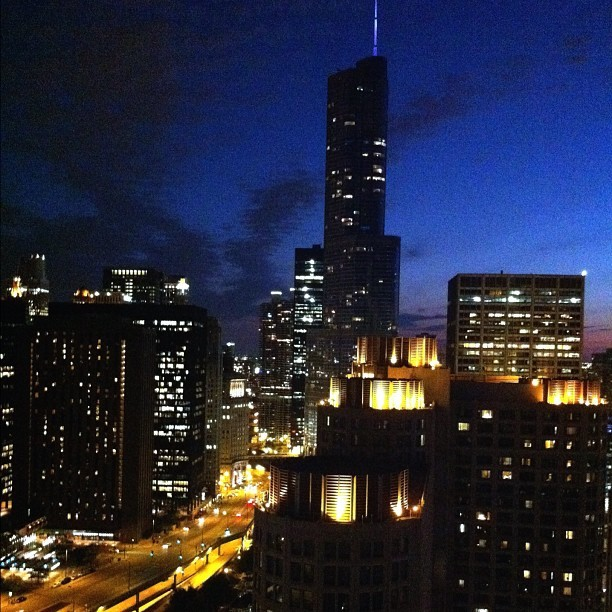 Chicago, on such a gorgeous summer night #nofilter  (Taken with Instagram)
