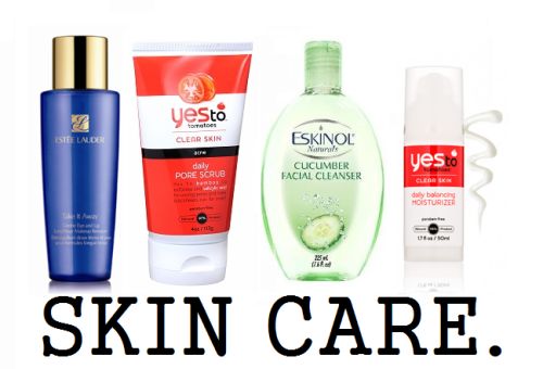 Skin Care: Facial ROUTINE/RITUAL Skin care, especially for the face is super important. I have been asked what I use on my face a few times, so here it is.  (I use these products in order) ESTEE LAUDER: Gentle Eye Make Up RemoverThis eye make up remover is perfect for people who put on layers of eyeshadow or eye liner, or even both. Sometimes I use this around my whole entire face, but of course it doesn't work as well. It is a little bit pricey, but I got mine free as a gift after my mom bought some cosmetics for $100+. It does depend where you buy it. I highly don't suggest getting it from eBay unless you know for sure that it is sealed, meaning the top has the seal on it. It would be around $15. Macy's is $18+, I believe depending on which size bottle you buy.  Yes To Tomatoes Daily Pore Scrub:I have tried so many facial cleansers/scrubs, from Loreal, Neautrogena, until I found this. I heard that organics are really good for everything about skin, so I found this. I took a big risk on buying this, because it is quite pricey. I bought it in a $23 package at Target, just so I could try it out. Yes To surprised me! I used the cucumber once and it didn't help my skin at all. In fact, I believe I broke out a little bit more. I was hoping the Tomatoes could help me because it is an acne scrub. Holy tomatoes, it was just perfect! From the first use it made my skin feel so clean, and I saw my acne slowly fading. I highly suggest this for people with oily/combination skin with acne and/or even acne scars. It really does go deep in your pores and just cleans it all out. The scent is okay, but it's not bad either. Price at Target would be $10 the bottle itself, but my package was $20.  ESKINOL: Cucumber Facial CleanserEveryone should know that even though you scrub and wash your face, it's never really that clean. A cleanser should be in every one of your bathroom cabinets. The first ingredient in this cleanser is water, which means that there is more water than any other chemical. Once you get product on a cotton or a facial tissue and wipe it on your face, you will see a lot of dirt there. So to get that off everyday you HAVE to use a cleanser before you sleep. The price is really cheap actually it's only around $1-$2. Yes To Tomatoes Moisturizer:The price is a lot for a small moisturizer, but it really does work. It's $15 but it's worth it. The texture of the product is kind of thick but not to creamy. The smell is kind of milky but obviously, tomatoe-y. It's paraben-free, which is good because parabens chemicals formed by acid and alchohol which can affect the skin. This is the only facial moisturizer that I use, and it's probably my holy grail in the winter.  Total Price: $45 the maximum.