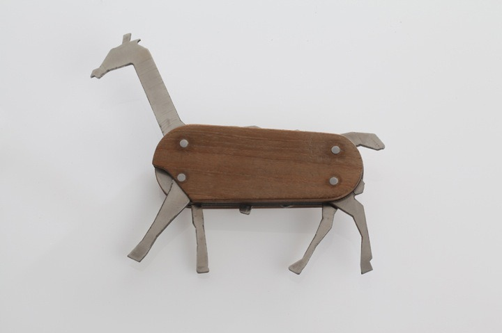 imprecise:  Third year industrial designer David Suhami designed the 'Animal pocket knife'. He developed the toy during his studio course at Shenkar College of Engineering and Design in Tel Aviv, Israel. The piece is inspired by the swiss army knife that is offering different tools for every occasion. The animal pocket knife is nothing but a funny interpretation of this little helpful tool, combining the idea of the army knife and a jungle safari in Africa. You can put together up to 81 different combinations such as giraffe, antelope and a rhino.