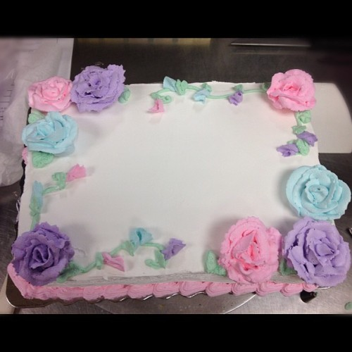 My first ever cake order with roses.  (Taken with Instagram)
