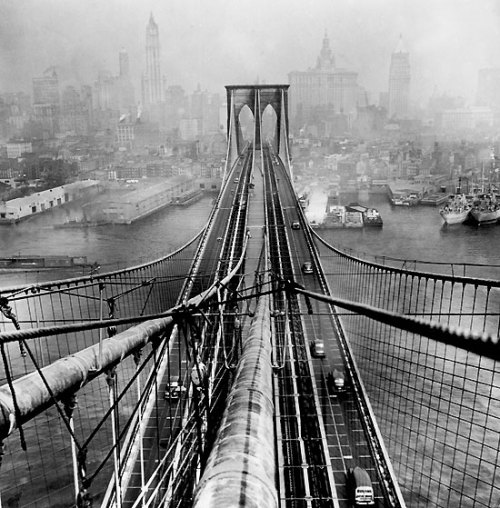 theblacktie:  The Brooklyn Bridge is one of the oldest suspension bridges in the United States. It is 5,989 feet long over the East River connecting Brooklyn to Manhattan. Completed in 1883, it was the longest suspension bridge in the world, the first steel-wire suspension bridge and the first bridge to connect to Manhattan. The Brooklyn was referred to as the New York and Brooklyn Bridge but then later on it was changed to simply the Brooklyn Bridge.