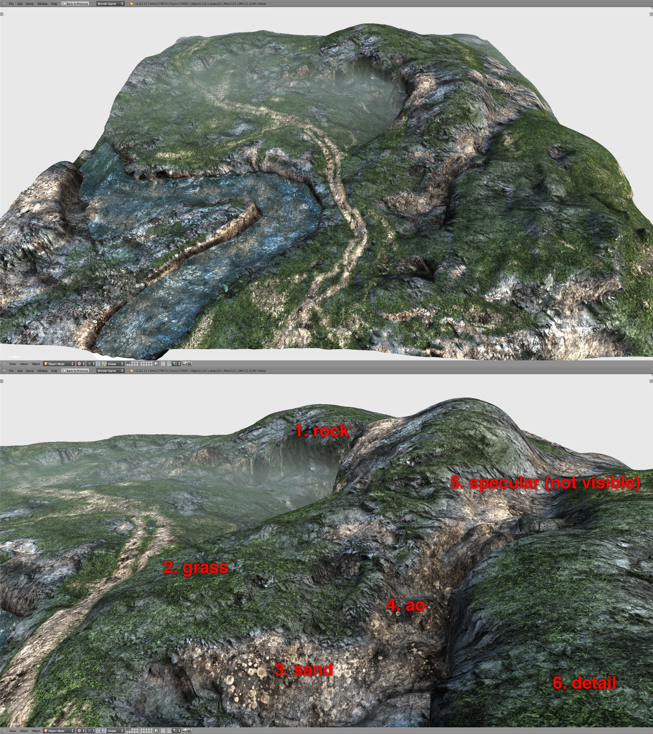 Uber efficient use of textures for terrain rendering  Traditionally, for a terrain this size, one will need an 8k texture at minimum. The landscape is rendered using a single 2028x2048 texture and one 512x512 texture.  This post is inspired by Andrew Maximov's article. In which he explores the limitations of traditional diffuse colour textures, and proposes a shader based semi-procedural texturing approach.  This is that method in Blender.  Download the Blend file here Here is the texture use break-down  Combined.tga R Channel: Dirt texture Combined.tga G Channel: Grass texture Combined.tga B Channel: Rock texture Mask.tga R Channel: Gradient Map (used to control which of the textures (Dirt, Grass, Rock) to use) Mask.tga G Channel: Light Map (Ambient Occlusion) Mask.tga B Channel: Specular Map To see how these textures are being used, take a look at the nodal material setup in Blender.