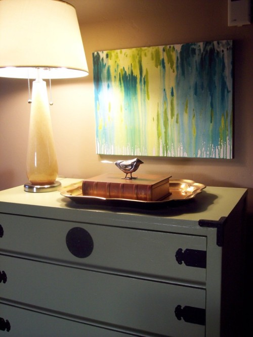 DIY abstract art  |  POCATELLO@HOME BLOG David Bromstad inspired. Made by spritzing water on paint.
