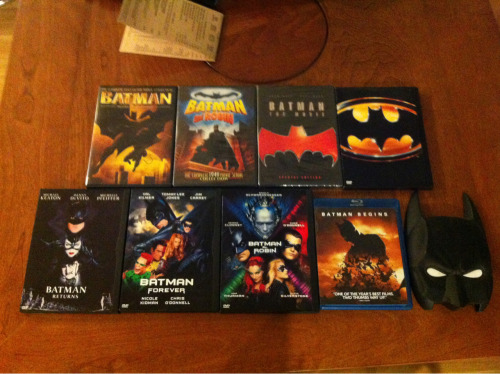 My goal is to watch all Live-Action Batman movies with my girlfriend before Dark Knight Rises comes out. We're halfway there or so. Batman Forever gets started tomorrow after work.