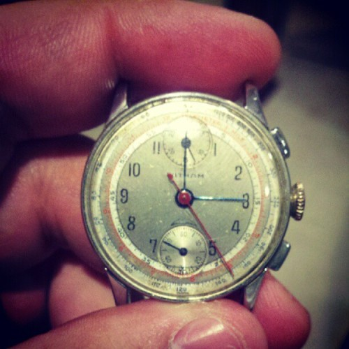I cannot wait to get my Grandfather's old watch from 1943 repaired. #watch #old #antique #1943 #latham #swiss #switzerland  (Taken with Instagram)