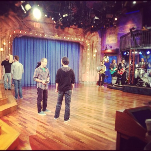 From Evan Wells' Twitter (@evan_wells)  Final rehearsal on stage before the show begins! ‪#TheLastofUs‬  Neil Druckmann and Bruce Straley practicing their segment to show The Last of Us on Late Night with Jimmy Fallon.