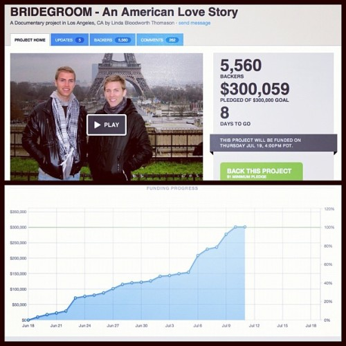 We did it @tombridegroom!!! Thank you everyone! http://t.co/PXu18SMt #bridegroommovie #tombridegroom #equalloveequalrights  (Taken with Instagram)