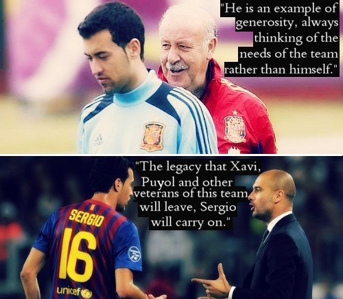 sergio-busquets:  moreawesomewithfootball:  What others say about Sergio Busquets Lionel Messi | Gerard Pique | Xavi Hernandez | Vincente Del Bosque | Pep Guardiola  this is beautiful