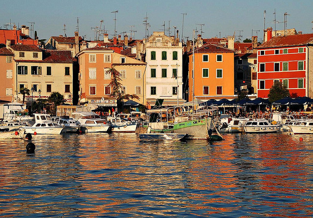 ysvoice:  | ♕ |  Rovinj Harbor at sunset  | by © kerek krisztian