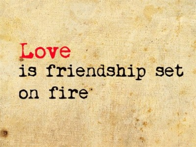 Love is friendship set on fire.