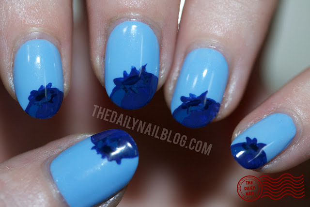 thedailynailblog:  Inspired by one of my favorite summertime activities as a kid- picking blueberries! I used: Essie Bikini So TeenyAmerican Apparel Mount RoyalAmerican Apparel Cameo BlueAmerican Apparel Passport Blue