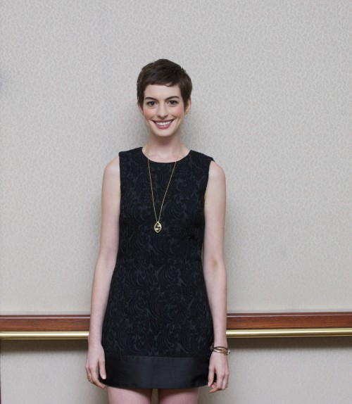 Anne Hathaway at a press conference for The Dark Knight Rises in Beverly Hills, July 8th