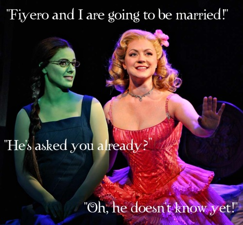 "cullenkitty:  ""Fiyero & I are going to be married!"" #Wicked"