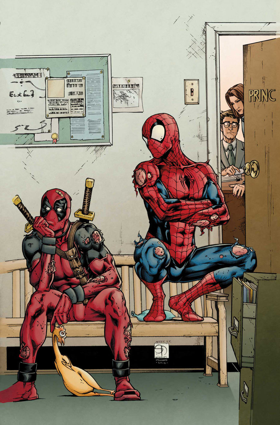 lulubonanza:  Drawn ByShane Davis  The question is, why can't spiderman sit…?