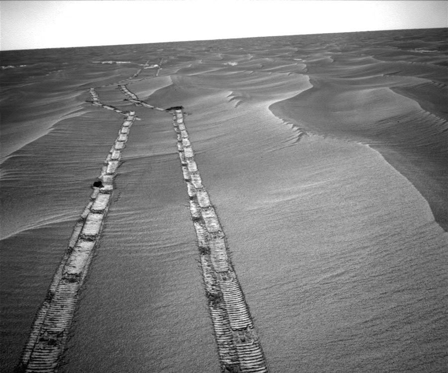 n-a-s-a:  Looking Back Across Mars  Credit: Mars Exploration Rover Mission, JPL, NASA