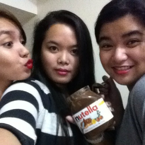 Red lips + nutella + my fave girls <3 (Taken with Instagram)