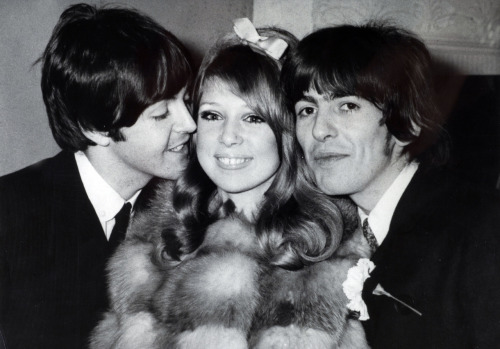 bohemea:  Paul McCartney, Pattie Boyd & George Harrison on Pattie & George's wedding day, January 21st 1966 Paul's getting real feisty with the bride!
