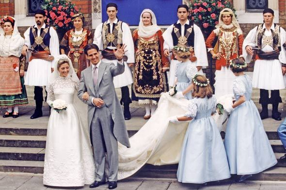monarchies-of-the-world:   The wedding of Crown Prince Pavlos of Greece and Marie-Chantal Miller (Princess Marie-Chantal), 1 July 1995