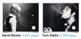 Bowie and Waits from my Artist List.  Hanging out and smorking.