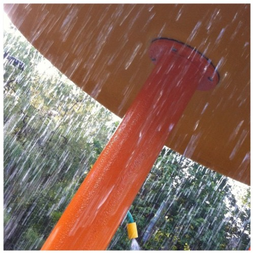 Summer is here: park sprinkler #summer #park #kids #children #water #rain #wet #hot #cool #nature #beautiful #recreation #vacation #life  (Taken with Instagram)